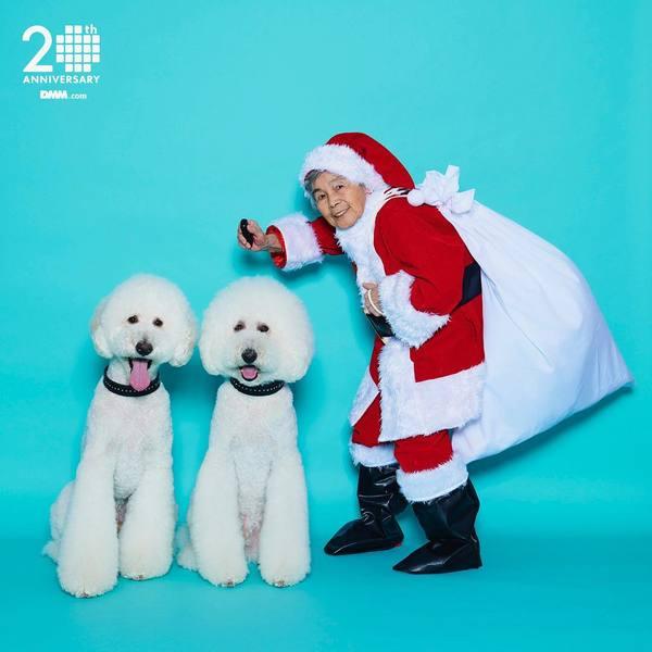 """西本喜美子 on Instagram: """"メリークリスマス! りっくん がっくん とのコラボだよ〜!素敵なワンちゃんでした! #dmm20th #半額キャンペーン #自撮りおばあちゃん"""""""