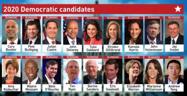Het almaar uitdijende Democratische deelnemersveld
