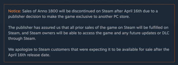 "Yet another ""we're sorry to be made idiots"" message from Steam (Anno 1800)"