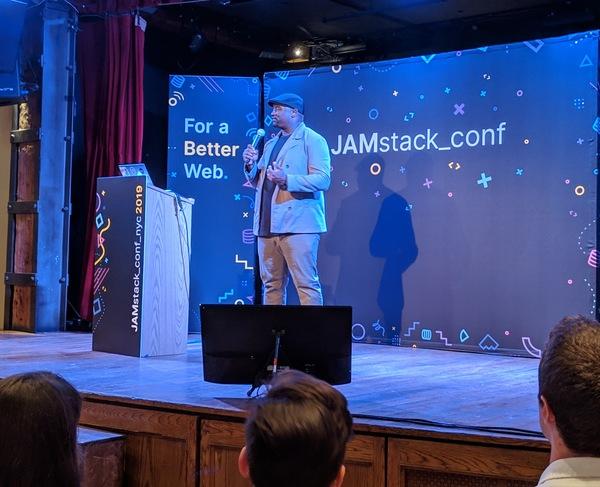 "JAMstack Conf 2019 - Gerald Onyango telling ""dad jokes"""
