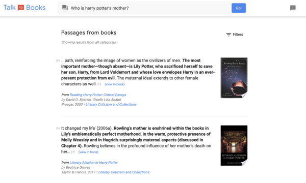 "Talk to Books' response to ""Who is Harry Potter's mother?"" (Google)"