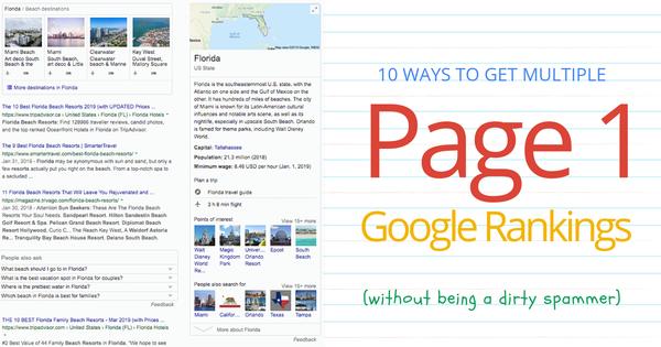 10 Ways to Get Multiple Organic Page 1 Google Rankings