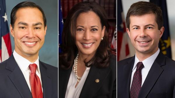 Julian Castro, Kamala Harris en Pete Buttigieg (foto: Reuters)
