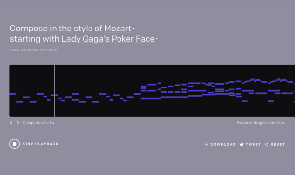 My favorite clip generated by MuseNet: Lady Gaga's Poker Face, continued in the style of Mozart. (OpenAI)