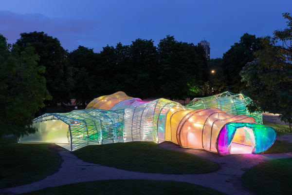 This translucent, rainbow pavilion is setting up for free at the La Brea Tar Pits