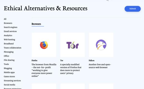 Ethical Alternatives website
