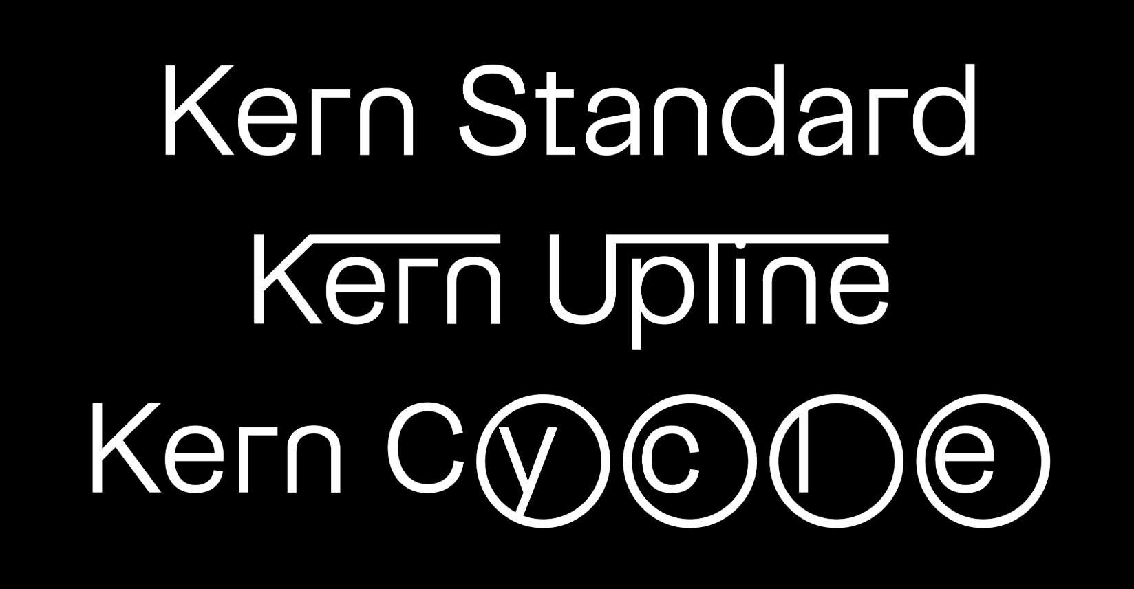 The Kern superfamily by Pizza Typefaces