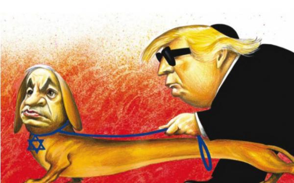 Een blinde Trump wordt geleid door Netanyahu, hier afgebeeld staat als geleidehond