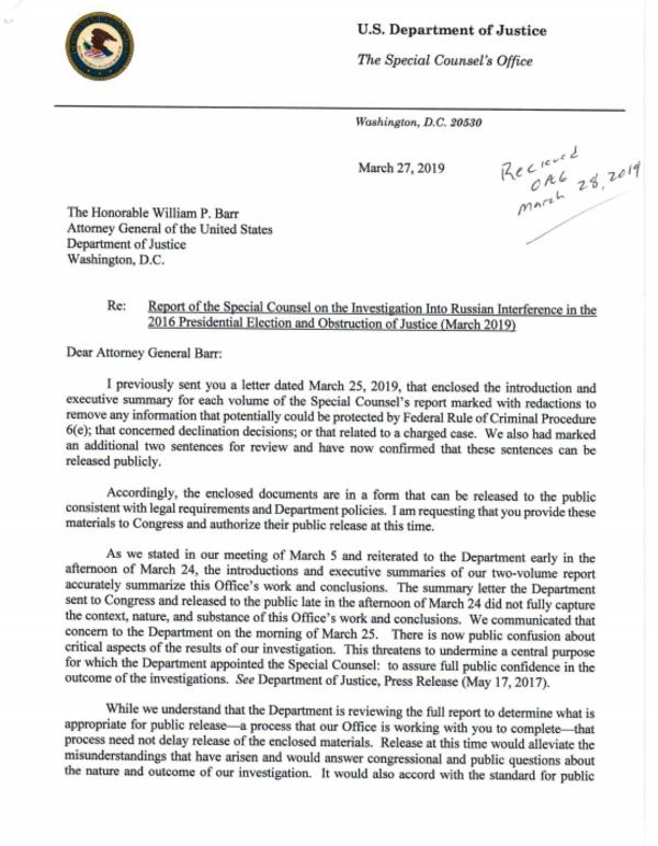De brief van Mueller van 27 maart