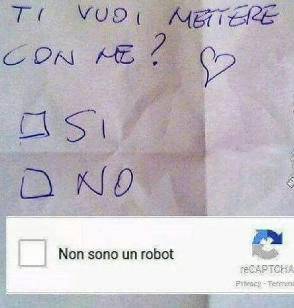 """Will you be my girlfriend/boyfriend? Yes / No / I am not a robot"""
