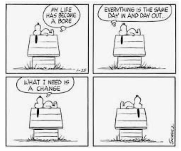 Snoopy van Charlie Brown is een voorbeeld (bron: Peanuts van Charles M Schulz)