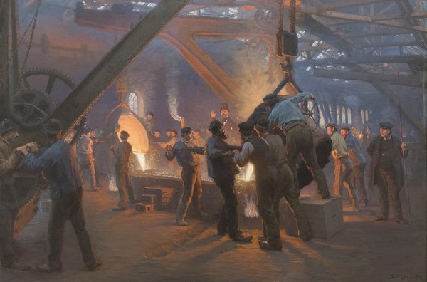"""From Fra Burmeister og Wain's Iron Foundry"" by Peder Severin Krøyer, 1885."