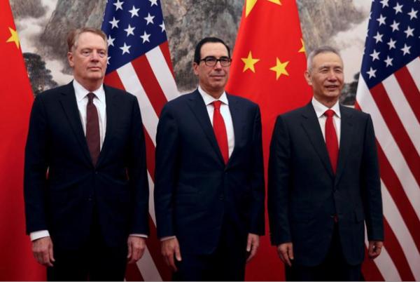 Lighthizer, Mnuchin en Liu He zetten de besprekingen vandaag door (foto: Reuters)