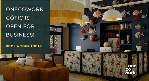 OneCoWork Gótic features 3 floors of 5-star coworking in the heart of Barcelona! Click the image to schedule a visit.