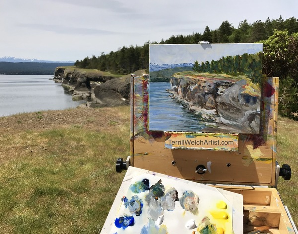 """Helliwell Cliff on Hornby Island"" 8 x10 plein air acrylic sketch by Terrill Welch"