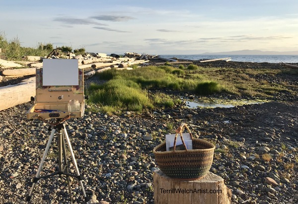 Plein air painting in the early morning at Grassy Point on Hornby Island