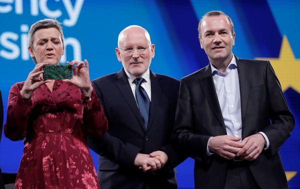 De kandidaten Vestager, Timmermans en Weber