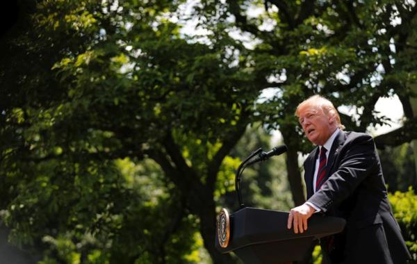 President Trump presenteert zijn hervorming van het immigratiesysteem in de Rose Garden van het Witte Huis (foto: Reuters)