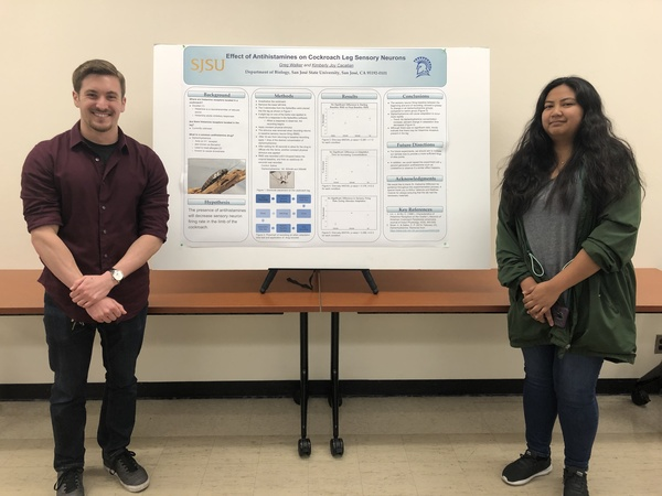 """From Katie Wilkinson's Vertebrate Neurophysiology CURE lab this spring:  """"This year's winners were Phylicia Sanchez and Blake DuPriest.They found that caffeine, but not alcohol, significantly decreased the range of pitch frequencies that were able to stimulate motor neurons and cause movement in the cockroach leg. """""""