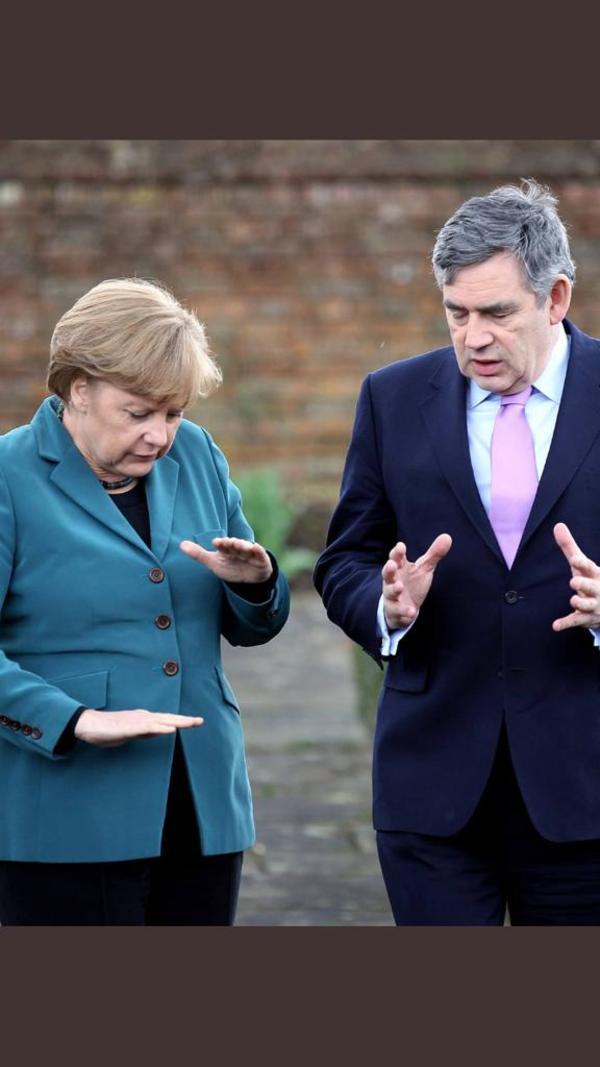 Merkel met Brown