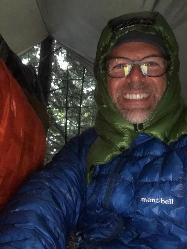 wet, cold, happy