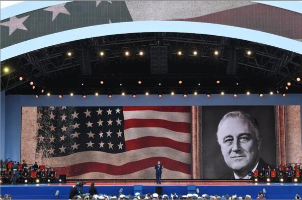 President Trump hield een toespraak in Portsmouth om D-Day te herdenken, deze week 75 jaar geleden (foto: Reuters)