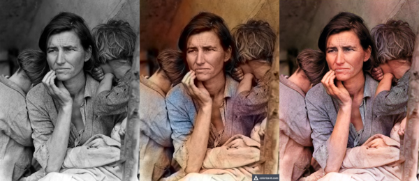 'Migrant Mother' by Dorothea Lange (left) colorized a baseline algorithm (center) and by DeOldify (right). (Jason Antic, fast.ai)