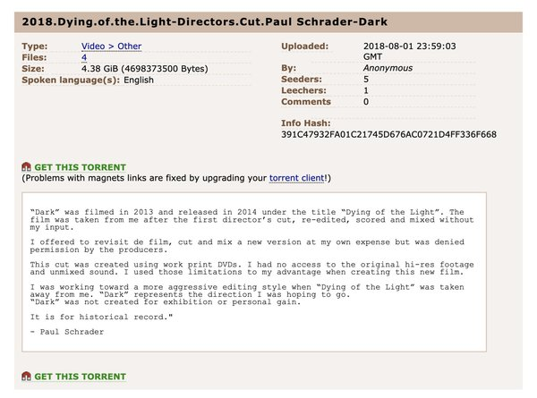 "Paul Schrader Used Torrents to Share His Own ""Dying Of The Light"" Cut - TorrentFreak"