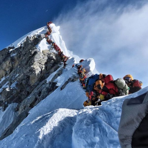 The queue for the summit of Mount Everest this year