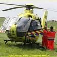 Traumaheli landt voor medische noodsituatie in woning