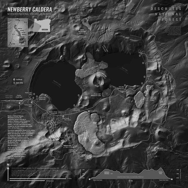 Monochrome map of Oregon's Newberry Caldera