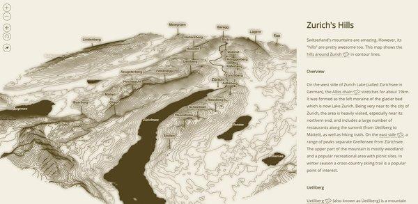 Zurich's Hills in contour lines