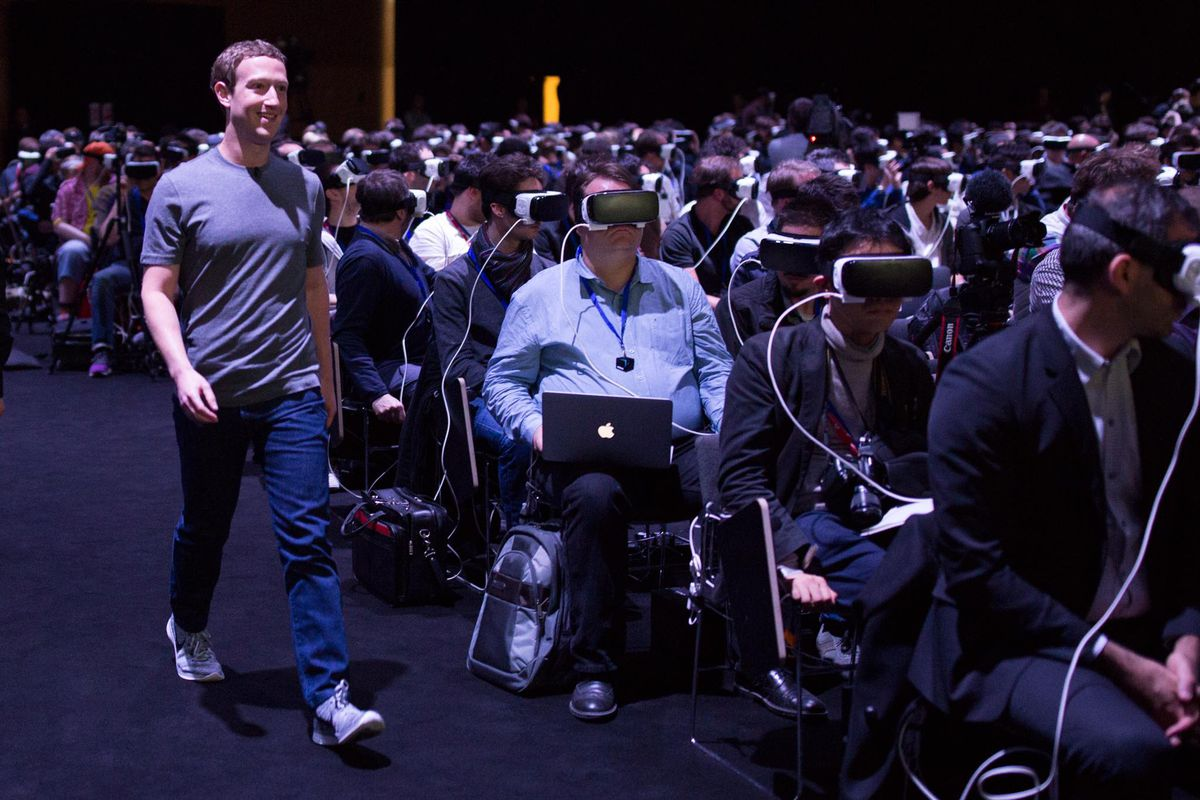Mark Zuckerberg at MWC, with journalist plugged into The Matrix