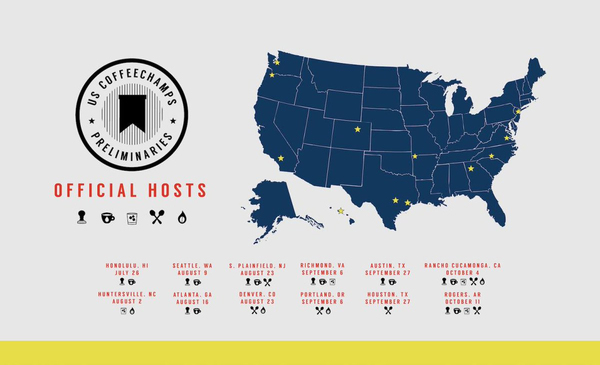 The 12 Host Cities For The US Coffee Champs Preliminaries Have Been Announced
