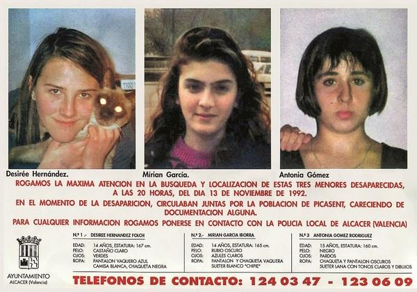 poster over de drie verdwenen meisjes