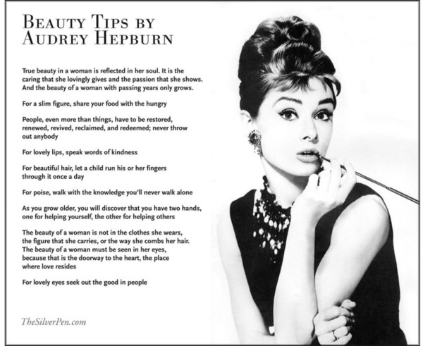 Audrey Hepburn perception of beauty.