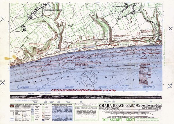 Detailed map of Omaha Beach D-Day landing zone