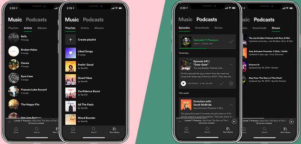 "Spotifys nye design af ""Your Library"". Foto: Spotify"