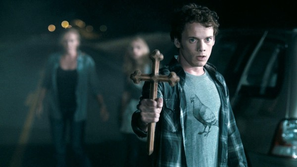 Pictured: Anton Yelchin looking cross.