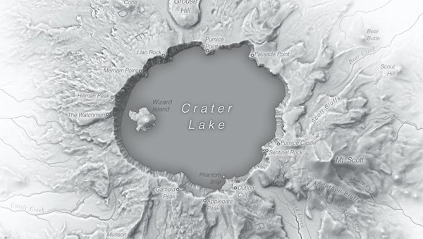 Crater Lake in monochrome
