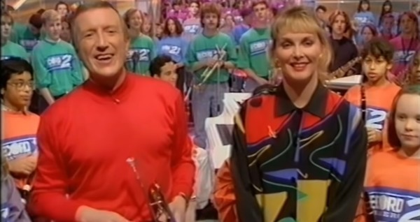 Roy Castle and Cheryl Baker hosting an episode of Record Breakers in 1992