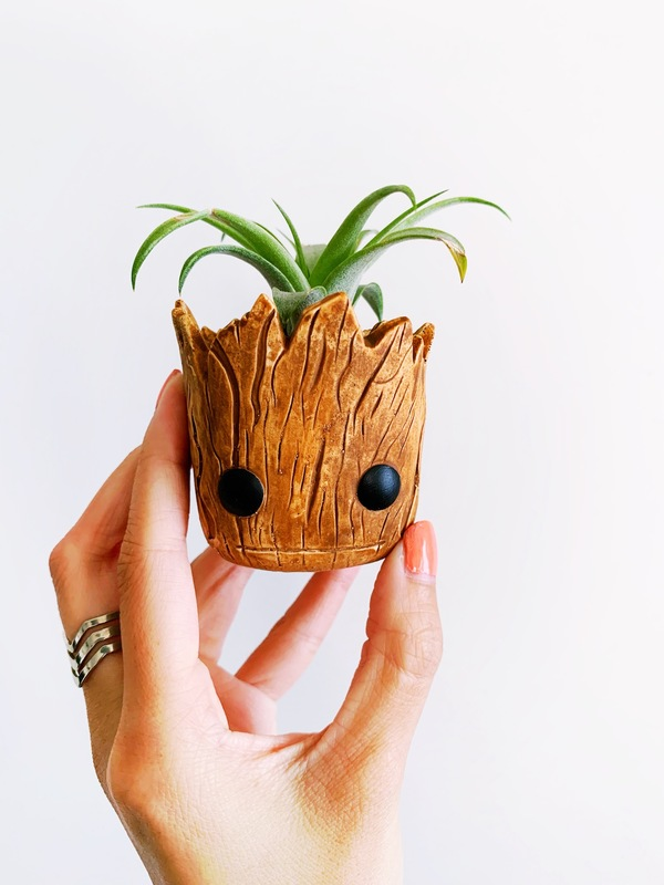 My lil air plant is thriving in its ceramic Groot head planter!
