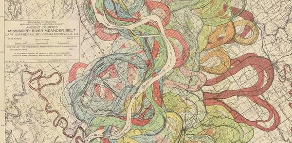 The marvelous Mississippi River meander maps