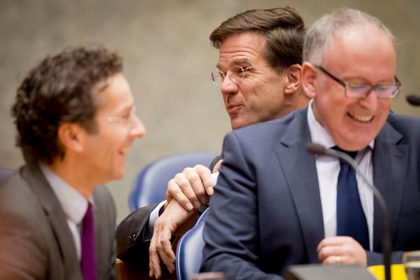 Jeroen Dijsselbloem, Mark Rutte en Frans Timmermans