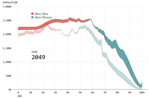 A screenshot of the interactive visualizations: count of men and women by age.