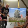 Een 'doekje' open van een rare kwast Teken- en schilderclub Jacobswoude