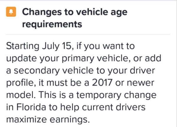 Lyft's In-App Message To Florida Drivers