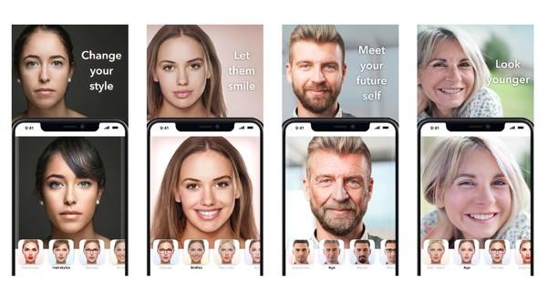 FaceApp's promotional screenshots