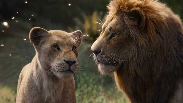 Pictured: Beyoncé and Donald Glover dressed up as lion statues.