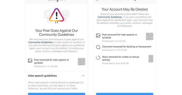 Instagram will now warn users close to having their account banned